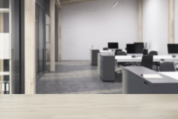 White brick open space office, concrete blur