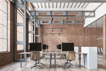 Loft open space office, brick