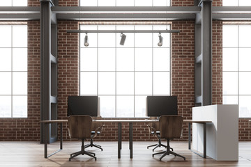 Brick wall open space office, loft