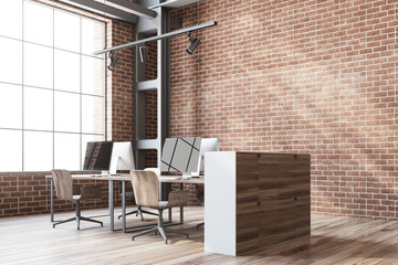 Brick wall open space office corner
