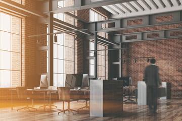 Loft open space office corner, brick toned