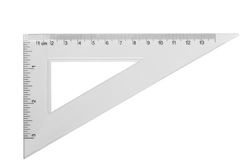 transparent triangle isolated on white background, with clipping path