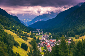 Great view of the National Park Dolomites (Dolomiti), famous location, Tyrol, Alp, Italy, Europe. Dramatic and picturesque scene. Beauty world.