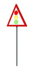 Deutsches Verkehrszeichen: Lichtzeichenanlage, auf weiß isoliert, 3d render