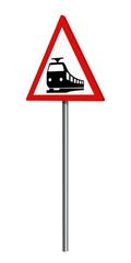 Deutsches Verkehrszeichen: Bahnübergang, auf weiß isoliert, 3d render