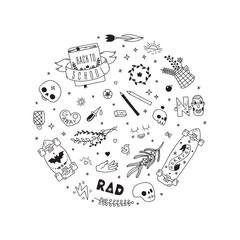 Old school  black tattoo vector circle illustration. Part two.