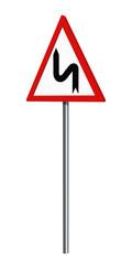 Deutsches Verkehrszeichen: Doppelkurve links, auf weiß isoliert, 3d render