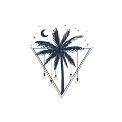 Hand drawn travel badge with palm tree textured vector illustration.