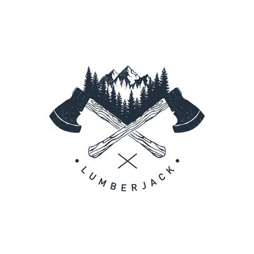 """Hand drawn travel badge with crossed axes, mountains and fir trees textured vector illustrations and """"Lumberjack"""" lettering."""