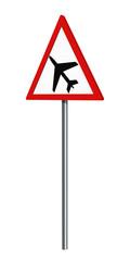 Deutsches Verkehrszeichen: Flugbetrieb, auf weiß isoliert, 3d render