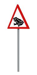 Deutsches Verkehrszeichen: Amphibienwanderung, auf weiß isoliert, 3d render