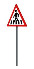 Deutsches Verkehrszeichen: Fußgängerüberweg, auf weiß isoliert, 3d render