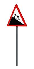 Deutsches Verkehrszeichen: 20% Gefälle, auf weiß isoliert, 3d render