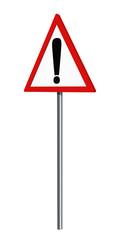 Deutsches Verkehrszeichen: Gefahrenstelle, auf weiß isoliert, 3d render