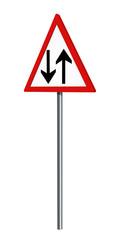 Deutsches Verkehrszeichen: gegenverkehr, auf weiß isoliert, 3d render