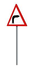 Deutsches Verkehrszeichen: Kurve Rechts, auf weiß isoliert, 3d render