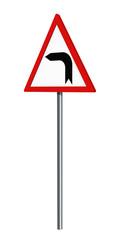 Deutsches Verkehrszeichen: Kurve Links, auf weiß isoliert, 3d render