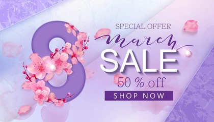 8 march sale banner with heart and sakura
