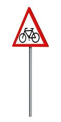 Deutsches Verkehrszeichen: Radfahrer, auf weiß isoliert, 3d render