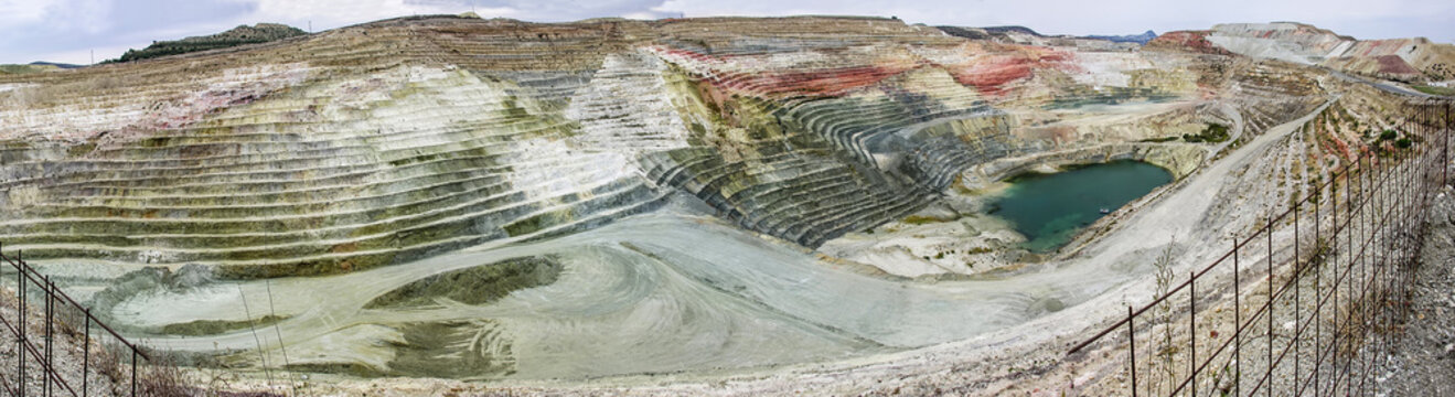 A panorama or a panoramic view of calcium bentonite quarry, located in the area of a bentonite processing plant in Greece.