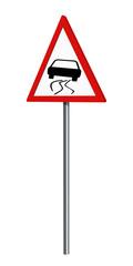 Deutsches Verkehrszeichen: Schleudergefahr, auf weiß isoliert, 3d render
