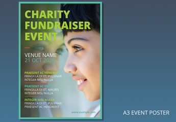 Charity Event Poster Layout with Green Border 1