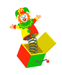 Jester pops out a box. Surprise joke for April Fools day. Jack in a box toy. Vector cartoon illustration