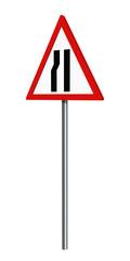 Deutsches Verkehrszeichen: einseitig verengte Fahrbahn, auf weiß isoliert, 3d render