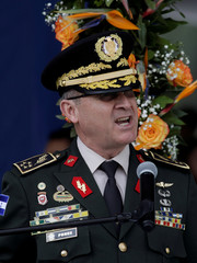 General Ponce, head of the Joint Chiefs of Staff of the Honduran Armed Forces, delivers a speech during a ceremony in Tegucigalpa