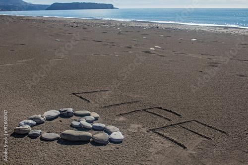 Scritta Life Su Sabbia Cuore Pietre Su Spiaggia Mare Sullo Sfondo