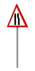 Deutsches Verkehrszeichen: einseitig verengte Fahrbahn rechts, auf weiß isoliert, 3d render