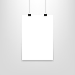 Poster hanging paper, in mockup style, vector
