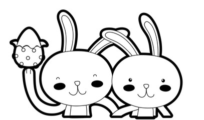 outline happy rabbit couple together with egg easter