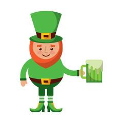cute leprechaun holding cold beer drink vector illustration