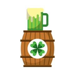 wooden barrel clover with beer glass beverage vector illustration