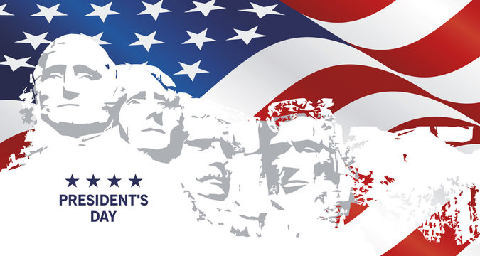 Presidents Day Rushmore USA flag landscape background greeting card