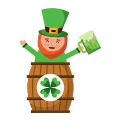 st. patricks day leprechaun inside on a barrel with a pint of beer in his hand vector illustration