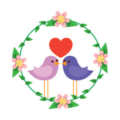 two happy cute bird in love with the heart in floral wreath vector illustration