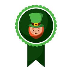 rosette badge with face leprechaun character vector illustration