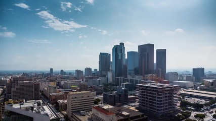 Fototapete - Beautiful sunny day downtown Los Angeles Aerial view city pan down 4K timalapse