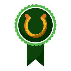 rosette badge with horseshoe luck emblem vector illustration