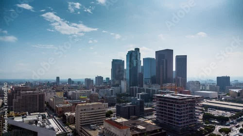 Fototapete Beautiful sunny day downtown Los Angeles Aerial view city pan down 4K timalapse