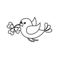 green bird flying with clover in beak vector illustration outline image