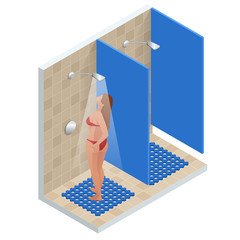 Isometric showers in the gym in a row. Shower with running water. Flat modern vector illustration of people in shower cabins