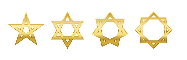 Pentagram, hexagram, heptagram and octagram. Four different golden stars with self-intersecting five, six, seven and eight sides.