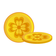 Shamrocks coins isolated icon vector illustration graphic design