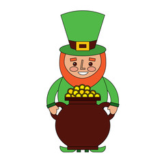 st patrick leprechaun holding pot full coins treasure vector illustration