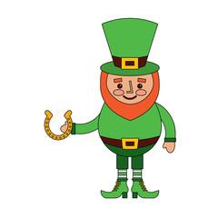 leprechaun holding horseshoe for luck traditional vector illustration