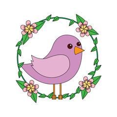 cute bird in decorative floral wreath flowers decoration vector illustration