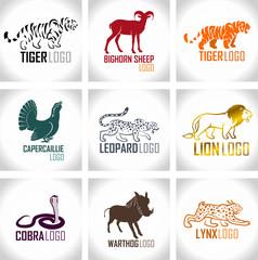 vector set of animals logo emblems labels